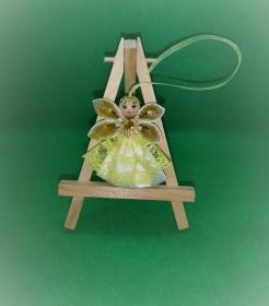 Engel im gelben Kleid, Weihnachtsdeko, Weihnachtsbaum Anhänger, Handgemacht                                 - Handarbeit kaufen