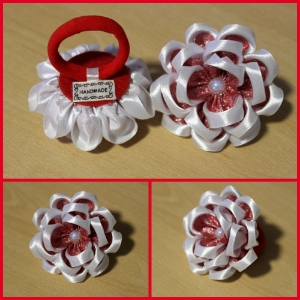 Haarspange, Haargummi, Kanzashi Blume, Haarschmuck     - Handarbeit kaufen