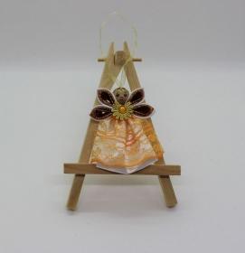 Engel im orangen Kleid, Weihnachtsdeko, Weihnachtsbaum Anhänger, Handgemacht                                   - Handarbeit kaufen