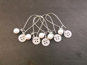 Maschenmarkierer Markierhilfe Knöpfe Perlen weiß 5 Stück - Handarbeit kaufen