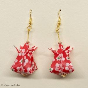 Origami Groß Tulpen Ohrringe, Japanisch, Handgemacht Schmuck, Perfektes Geschenk, bunt    - Handarbeit kaufen