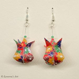 Origami Groß Tulpen Ohrringe, Japanisch, Handgemacht Schmuck, Perfektes Geschenk, bunt, blumig - Handarbeit kaufen