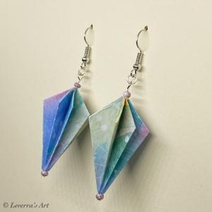 Origami Groß Diamant Ohrringe, Japanisch, Handgemacht Schmuck, Perfektes Geschenk, bunt  - Handarbeit kaufen