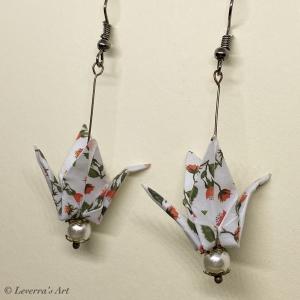 Origami Kranich Ohrringe, Japanisch, Handgemacht Schmuck, Perfektes Geschenk, bunt