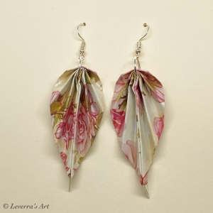 Origami Groß Blätter Ohrringe, Japanisch, Handgemacht Schmuck, Perfektes Geschenk, bunt, blumig - Handarbeit kaufen