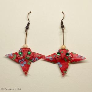 Origami Eule Ohrringe, Japanisch, Handgemacht Schmuck, Perfektes Geschenk für Eulenliebhaber, bunt,blumig - Handarbeit kaufen