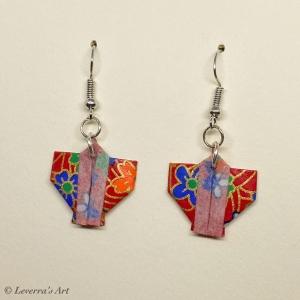 Origami Kimono Ohrringe, Japanisch, Schmuck aus Origami Papier, Perfektes Geschenk, bunt    - Handarbeit kaufen
