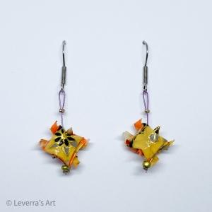 Origami Schildkröten Ohrringe Ohrhänger Handgemacht, Gelb Orange, Schmuck aus Origami Papier, Perfektes Geschenk, Edelstahl - Handarbeit kaufen