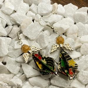 Origami Schutzengel Ohrringe, Ohrhänger Handgemacht, Schmuck, Perfektes Geschenk, Engel, Glücksbringer - Handarbeit kaufen