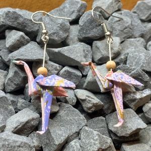 Origami Flamingo Ohrringe Handgemacht, Schmuck, Perfektes Geschenk, Sommer  - Handarbeit kaufen