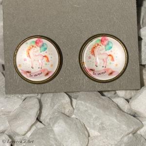 Cabochon Glas Ohrringe Ohrstecker 12mm, Einhorn Unicorn  - Handarbeit kaufen