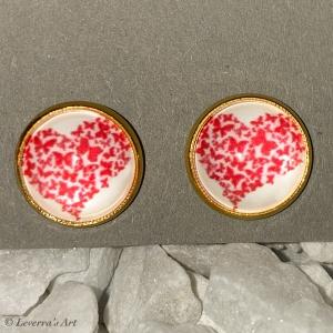 Cabochon Glas Ohrringe Ohrstecker 12mm, Rotes Herz Design, Goldfarbenes Metall, Valentinstag  - Handarbeit kaufen