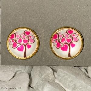 Cabochon Glas Ohrringe Ohrstecker 12mm,  Herz Baum Design, Goldfarbenes Metall, Valentinstag   - Handarbeit kaufen