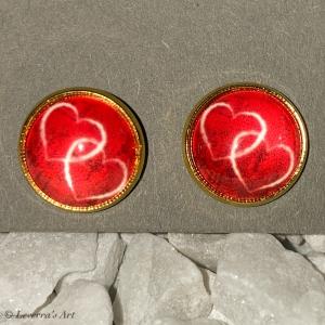 Cabochon Glas Ohrringe Ohrstecker 12mm,  Herz Design, Goldfarbenes Metall, Valentinstag