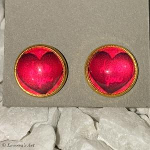 Cabochon Glas Ohrringe Ohrstecker 12mm,  Herz Design, Goldfarbenes Metall, Valentinstag    - Handarbeit kaufen