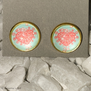 Cabochon Glas Ohrringe Ohrstecker 12mm,  Herz Liebe Design, Goldfarbenes Metall, Valentinstag    - Handarbeit kaufen