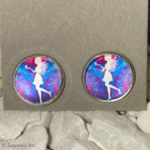 Cabochon Glas Ohrringe Ohrstecker 12mm,  Fee Design, Silberfarbenes Metall - Handarbeit kaufen