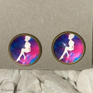 Cabochon Glas Ohrringe Ohrstecker 12mm,  Fee Design, Bronzefarbenes Metall   - Handarbeit kaufen