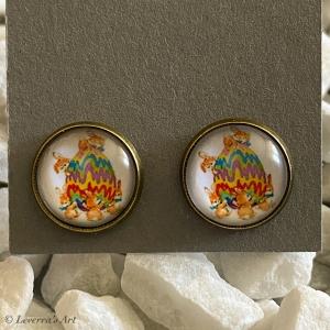 Cabochon Glas Ohrringe Ohrstecker 12mm,  Ostern Eier Hase Design, Bronzefarbenes Metall   - Handarbeit kaufen