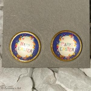 Cabochon Glas Ohrringe Ohrstecker 12mm,  Ostern Design, Goldfarbenes Metall      - Handarbeit kaufen