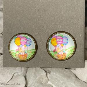 Cabochon Glas Ohrringe Ohrstecker 12mm,  Ostern Hase Eier Design, Bronzefarbenes Metall     - Handarbeit kaufen