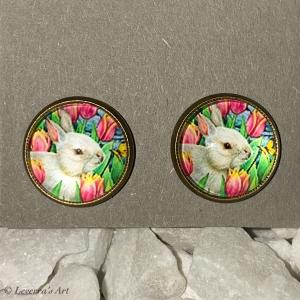 Cabochon Glas Ohrringe Ohrstecker 12mm,  Ostern Hase Design, Bronzefarbenes Metall     - Handarbeit kaufen