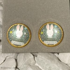 Cabochon Glas Ohrringe Ohrstecker 12mm,  Ostern Hase Design, Goldfarbenes Metall    - Handarbeit kaufen
