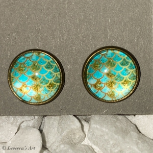 Cabochon Glas Ohrringe Ohrstecker 12mm,  Meerjungfrau Schwanz Design, Bronzefarbenes Metall