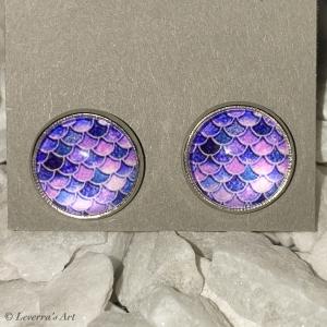 Cabochon Glas Ohrringe Ohrstecker 12mm,  Meerjungfrau Schwanz Design, Silberfarbenes Metall        - Handarbeit kaufen