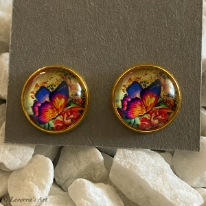 Cabochon Glas Ohrringe Ohrstecker 12mm,  Schmetterling bunt Design, Goldfarbenes Metall           - Handarbeit kaufen