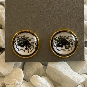 Cabochon Glas Ohrringe Ohrstecker 12mm,  Frau Design, Goldfarbenes Metall, Schwarz Weiß         - Handarbeit kaufen