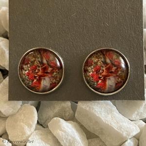 Cabochon Glas Ohrringe Ohrstecker 12mm,  Hirsch bunt Design, Silberfarbenes Metall - Handarbeit kaufen