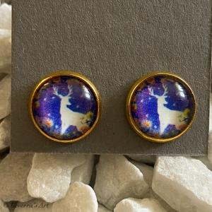Cabochon Glas Ohrringe Ohrstecker 12mm,  Rentier bunt Design, Goldfarbenes Metall    - Handarbeit kaufen