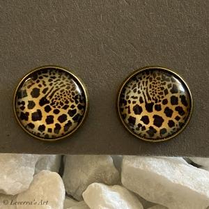 Cabochon Glas Ohrringe Ohrstecker 12mm,  Animal print Leopard Design, Bronzefarbenes Metall