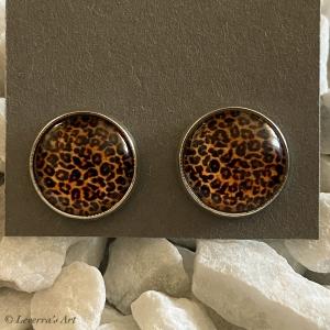 Cabochon Glas Ohrringe Ohrstecker 12mm,  Animal print Leopard Design, Silberfarbenes Metall      - Handarbeit kaufen