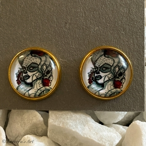Cabochon Glas Ohrringe Ohrstecker 12mm,  Totenkopf Frau Halloween Design, Goldfarbenes Metall - Handarbeit kaufen