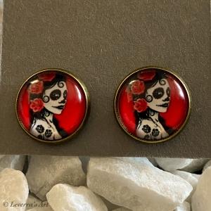 Cabochon Glas Ohrringe Ohrstecker 12mm,  Totenkopf Frau Halloween Design, Bronzefarbenes Metall - Handarbeit kaufen