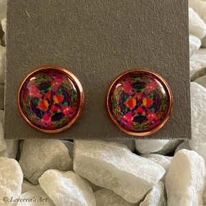 Cabochon Glas Ohrringe Ohrstecker 12mm,  Mandala bunt Design, Rosegoldfarbenes Metall Pink - Handarbeit kaufen