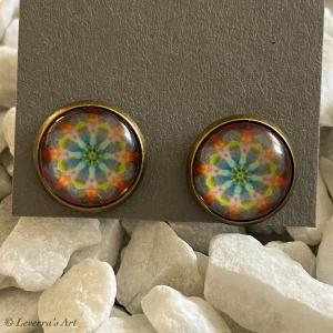 Cabochon Glas Ohrringe Ohrstecker 12mm,  Mandala bunt Design, Bronzefarbenes Metall   - Handarbeit kaufen