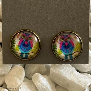 Cabochon Glas Ohrringe Ohrstecker 12mm, Eule bunt Design, Bronzefarbenes Metall   - Handarbeit kaufen