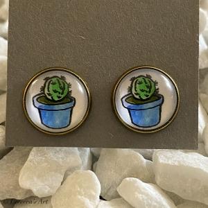 Cabochon Glas Ohrringe Ohrstecker 12mm, Kaktus Sukkulente Pflanzen bunt Design, Bronzefarbenes Metall    (Kopie id: 100243723) - Handarbeit kaufen