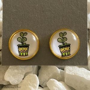 Cabochon Glas Ohrringe Ohrstecker 12mm, Kaktus Sukkulente Pflanzen bunt Design, Goldfarbenes Metall   - Handarbeit kaufen