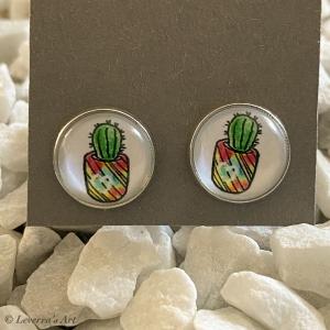 Cabochon Glas Ohrringe Ohrstecker 12mm, Kaktus Sukkulente Pflanzen bunt Design, Silberfarbenes Metall   - Handarbeit kaufen