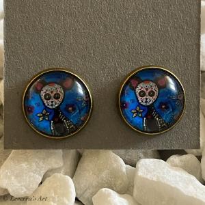 Cabochon Glas Ohrringe Ohrstecker 12mm, Totenkopf Katze Design, Bronzefarbenes Metall, Blau Schwarz   - Handarbeit kaufen
