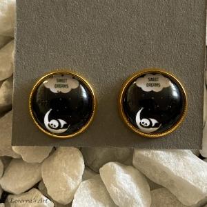 Cabochon Glas Ohrringe Ohrstecker 12mm, Schlafender Panda Design, Bronzefarbenes Metall, Schwarz Weiß