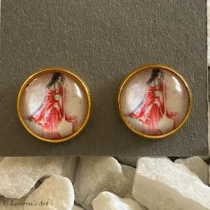 Cabochon Glas Ohrringe Ohrstecker 12mm, Frau Design, Goldfarbenes Metall - Handarbeit kaufen