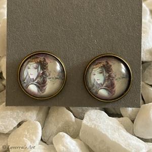 Cabochon Glas Ohrringe Ohrstecker 12mm, Frau Design, Bronzefarbenes Metall  - Handarbeit kaufen