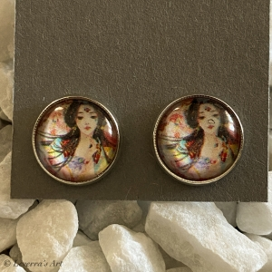Cabochon Glas Ohrringe Ohrstecker 12mm, Frau Design, ´Silberfarbenes Metall   - Handarbeit kaufen