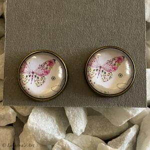 Cabochon Glas Ohrringe Ohrstecker 12mm, Schmetterling bunt Design, ´Silberfarbenes Metall     - Handarbeit kaufen