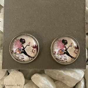 Cabochon Glas Ohrringe Ohrstecker 12mm, Fee bunt Design, ´Silberfarbenes Metall     - Handarbeit kaufen